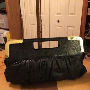 BCBGMaxazria Black Leather Clutch Bag Purse